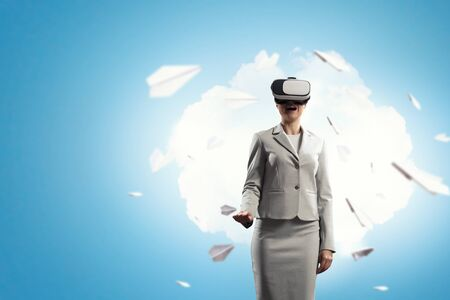 Young female in virtual reality