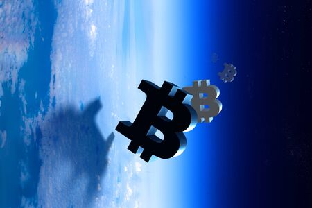 Bitcoin marks in Earth atmosphere Stock Photo
