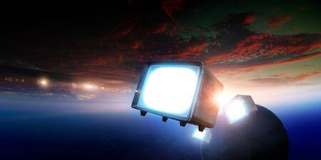 Retro TV flying in space 写真素材