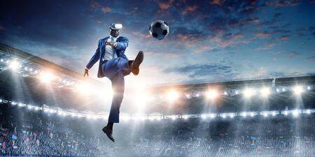 Black Man and Virtual Reality Soccer Match