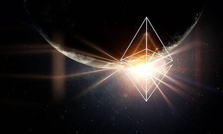 Crypto currency world. 3d rendering Zdjęcie Seryjne