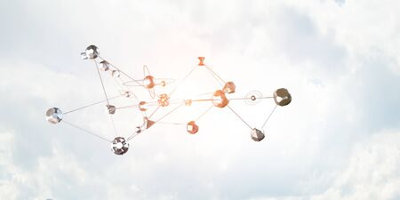 Network 3D graph in the sky Stock Photo