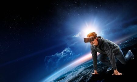 Young man in virtual reality