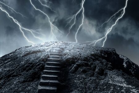 Stone steps into clouds and light. Mixed media Stockfoto