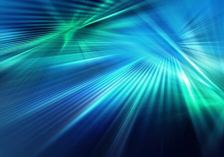 abstract colourful background with blue and green light and stripeв rays of light spreading in different directions and crossing