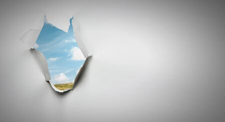 Effect of torn paper hole Stockfoto