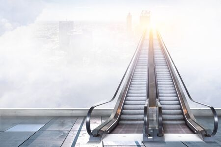 Modern double escalator with cityscape