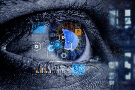 Concepto abstracto ojo de alta tecnología Foto de archivo