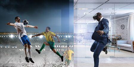 Black Man on virtual reality football match Banco de Imagens