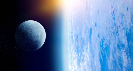 Earth and Moon in blue space, close up image