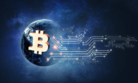 The concept of crypto currency coding Banque d'images - 129001239