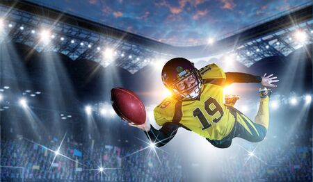 American football player . Mixed media