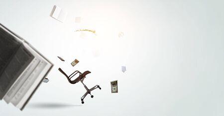 Office objects levitating . Mixed media Stock fotó
