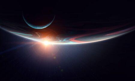 Abstrakcyjny obraz kosmiczny z planetami