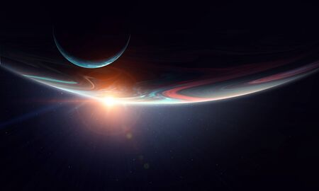 Immagine spaziale astratta con pianeti