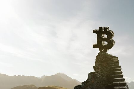 Bitcoin symbol over mountain with ladder