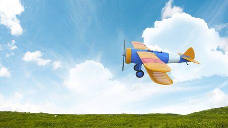 Retro airplane in sky. Mixed media