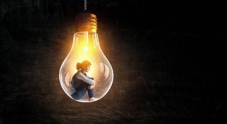 Woman in glass bulb. Mixed media