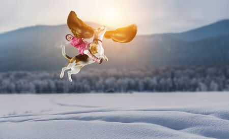 Super hero and her flying dog