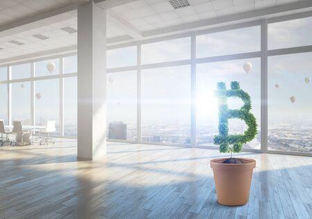 Green bitcoin plant. Mixed media Imagens