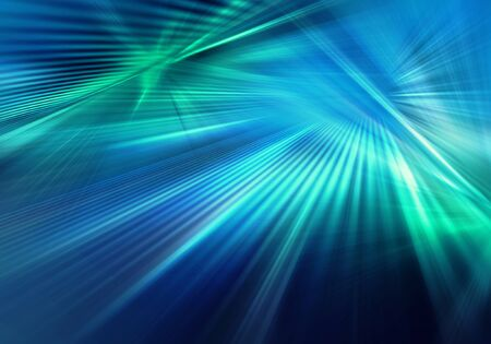 abstract colourful background with light and straight rays of blue and green light spreading in different directions and crossing