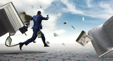 Businessman running in a hurry. Mixed media Stockfoto
