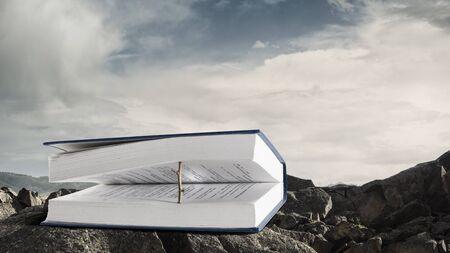Boek met een houten natuurlijke boekenlegger