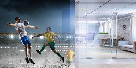 Real room vs and stadium football game Banco de Imagens