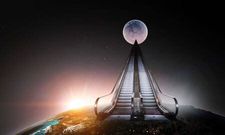 Modern empty double escalator going to Moon, dark space background