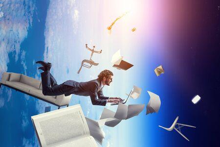 Joyful happe businessman levitating horizontally Stock fotó