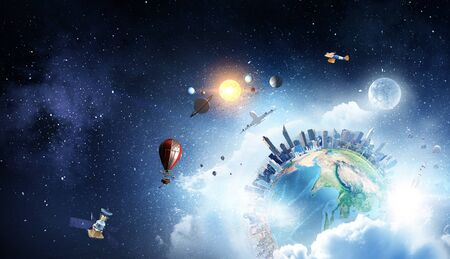 Earth planet with city skyline on sky and space background Stock Photo