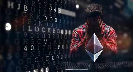 Man hiding his face under his hands, digital computer code and Ethereum sign