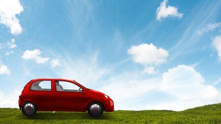 Red toy car. Mixed media Zdjęcie Seryjne