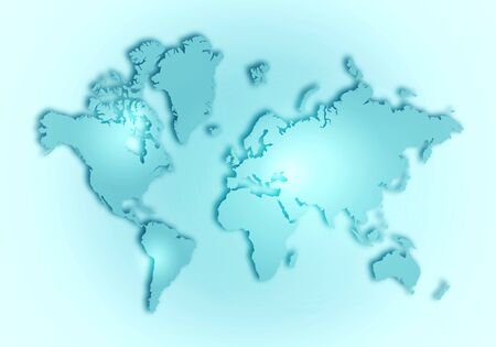 Simple world digital map with outlined continents in light green colour Stock fotó