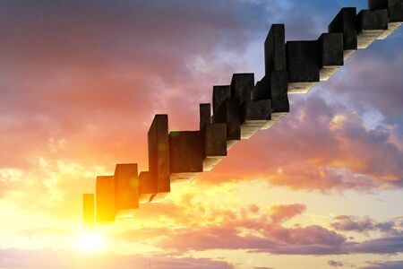 Ladder to the sky made of large stone blocks Stock Photo