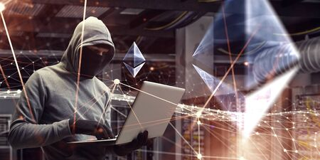 Hacker with laptop trying to unlock code, 3d network graphs, Etherium sign in server room Banque d'images - 131293792
