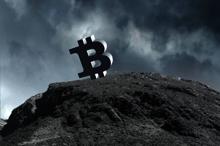 Crypto currency on top. Mixed media Stock Photo - 131446812