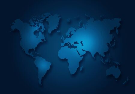Simple world digital map with outlined continents in dark blue colour