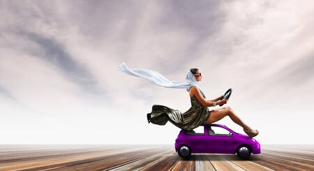 Pretty woman sitting on toy car with steering wheel in hands. Mixed media Stock Photo
