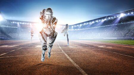 Woman cyborg running on track. Mixed media 스톡 콘텐츠