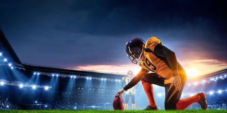 American football player. Mixed media.