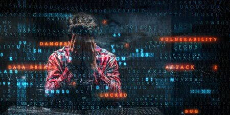 Man hiding his face under his hands, with locks, icons, digital computer code