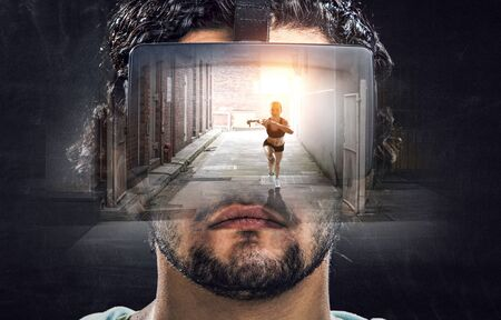 Man in VR glasses travels to virtual world