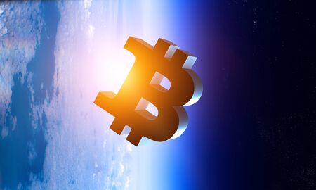 Bitcoin marks in Earth atmosphere Stock fotó