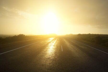 Empty road, sunset sky background 스톡 콘텐츠