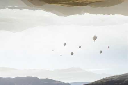Mountain landscape background with flying balloons