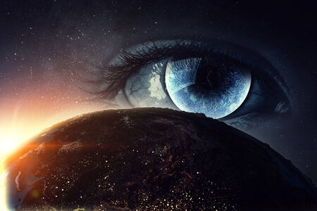 close up of eye with lunar iris and a globe on blue starry space background