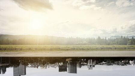 Country landscape upside down cityscape background