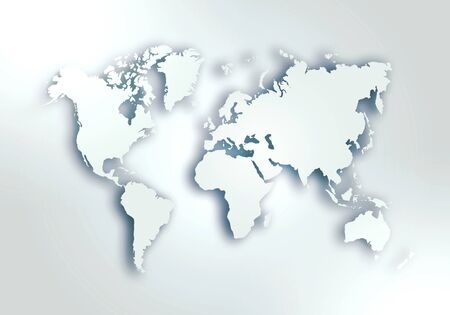 Simple world digital map with outlined continents in light grey colour
