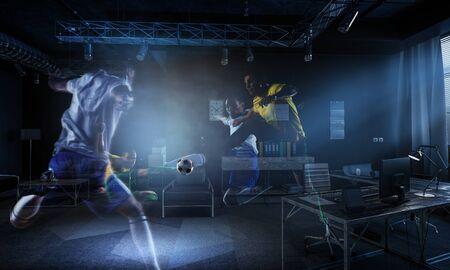 Real room vs virtual reality football game